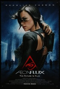 5s018 AEON FLUX advance DS 1sh 2005 sexy futuristic Charlize Theron in black outfit!