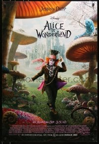 5s023 ALICE IN WONDERLAND advance DS 1sh 2010 Johnny Depp as the Mad Hatter surrounded by mushrooms