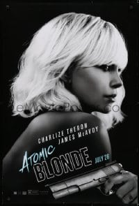 5s048 ATOMIC BLONDE teaser DS 1sh 2017 great close-up portrait of sexy Charlize Theron with gun!