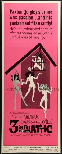 5t004 3 IN THE ATTIC insert 1968 Yvette Mimieux, great sexy artwork of naked girls dancing!