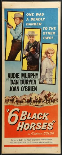 5t002 6 BLACK HORSES insert 1962 Audie Murphy, Dan Duryea, sexy Joan O'Brien, 1 was deadly to them!