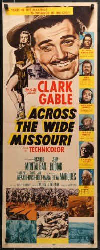 5t007 ACROSS THE WIDE MISSOURI insert 1951 art of smiling Clark Gable & sexy Maria Elena Marques!