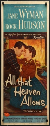5t015 ALL THAT HEAVEN ALLOWS insert 1955 c/u romantic art of Rock Hudson about to kiss Jane Wyman!
