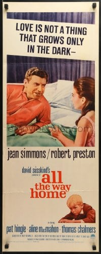 5t016 ALL THE WAY HOME insert 1963 close up of sexy Jean Simmons & Robert Preston in bed!
