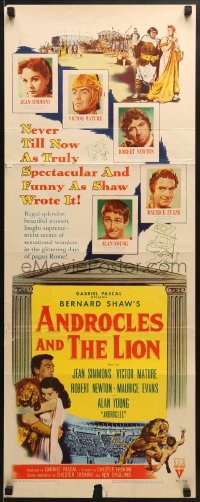 5t021 ANDROCLES & THE LION insert 1952 Victor Mature, beautiful Jean Simmons, cool art of lion!