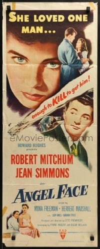 5t022 ANGEL FACE insert 1953 Robert Mitchum, pretty heiress Jean Simmons, Otto Preminger, Hughes