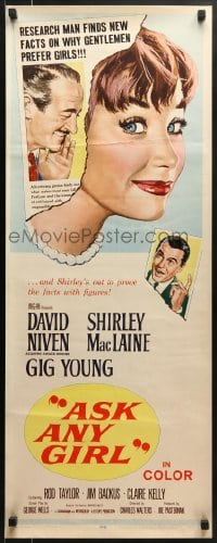 5t024 ASK ANY GIRL insert 1959 David Niven finds why gentlemen prefer Shirley MacLaine!