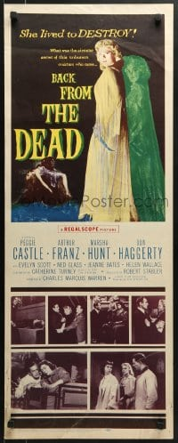 5t029 BACK FROM THE DEAD insert 1957 Peggie Castle lived to destroy, cool sexy horror art & image!