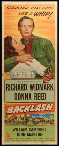 5t030 BACKLASH insert 1956 Richard Widmark holds Donna Reed, suspense that cuts like a whip!