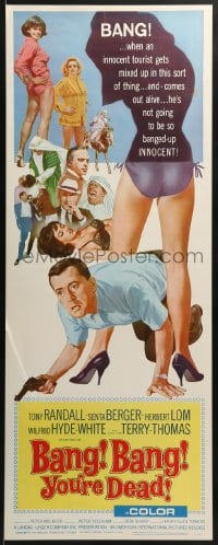 5t032 BANG BANG YOU'RE DEAD insert 1966 wacky art of Tony Randall crouching between sexy legs!