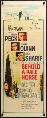 5t038 BEHOLD A PALE HORSE insert 1964 Gregory Peck, Anthony Quinn, cool Terpning artwork!