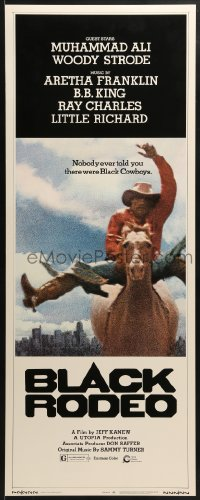 5t046 BLACK RODEO insert 1972 Muhammad Ali, Woody Strode, black cowboy on horse in city image!