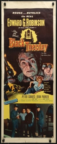 5t047 BLACK TUESDAY insert 1955 Peter Graves, sexy Jean Parker & ruthless Edward G. Robinson!