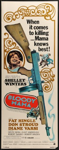 5t051 BLOODY MAMA insert 1970 Roger Corman, AIP, crazy gangster Shelley Winters w/tommy gun!