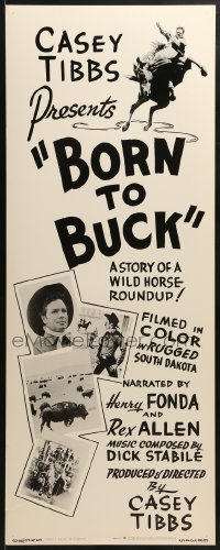 5t059 BORN TO BUCK insert 1968 Casey Tibbs presents & directs, cool rodeo images!
