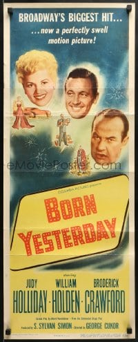 5t060 BORN YESTERDAY insert 1951 headshots of Judy Holliday, William Holden & Broderick Crawford!