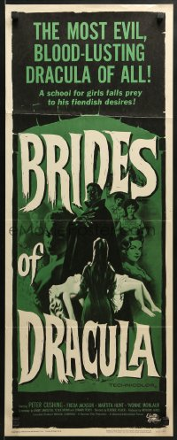 5t064 BRIDES OF DRACULA insert 1960 Terence Fisher, Hammer, great vampire art by Joseph Smith!
