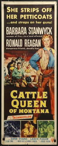 5t078 CATTLE QUEEN OF MONTANA insert 1954 Barbara Stanwyck straps on her guns, Ronald Reagan!