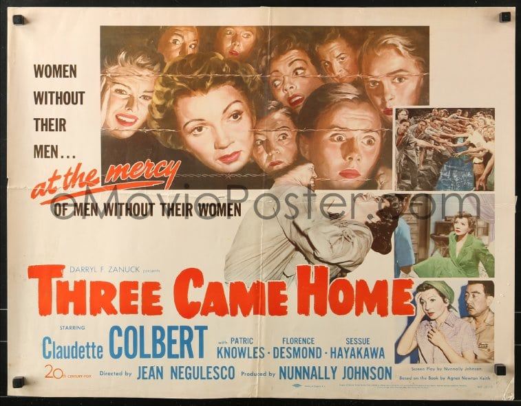 Three came home Claudette Colbert vintage movie poster