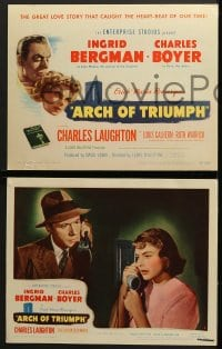 5w026 ARCH OF TRIUMPH 8 LCs 1947 Ingrid Bergman, Charles Boyer, w/great casino gambling image!