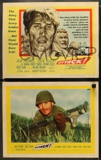 5w028 ATTACK 8 LCs 1956 WWII soldiers Lee Marvin, Jack Palance & Richard Jaeckel!