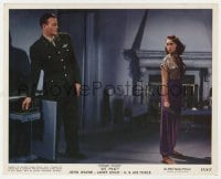 5x011 JET PILOT color 8x10 still 1957 sexy Janet Leigh looks back at uniformed John Wayne!