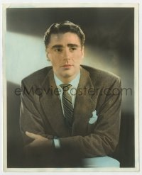 5x017 PETER LAWFORD color deluxe 8x10 still 1940s great MGM studio portrait wearing suit & tie!