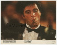 5x021 SCARFACE 8x10 mini LC #7 1983 Al Pacino as Tony Montana smoking cigar, Brian De Palma