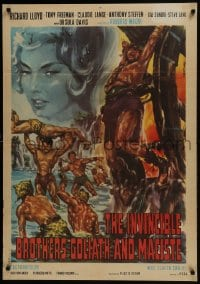 5y826 INVINCIBLE BROTHERS MACISTE export Italian 1sh 1964 Di Stefano sword & sandal artwork!