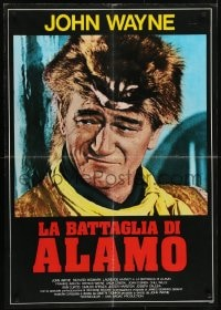 5y835 ALAMO Italian 27x38 pbusta R1979 John Wayne as Crockett in the Texas War of Independence!