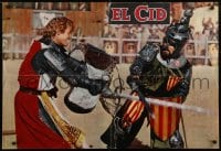 5y836 EL CID Italian 27x39 pbusta 1961 close up of Charlton Heston in full armor in fight!