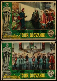 5y828 ADVENTURES OF DON JUAN group of 2 Italian 14x19 pbustas 1949 dashing Errol Flynn with Alan Hale and Raymond Burr