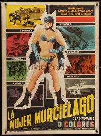 5y009 BATWOMAN Mexican poster 1967 Maura Monti, great art of sexy superhero by Huseyin!