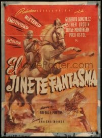 5y010 EL JINETE FANTASMA Mexican poster 1946 Rafael Portas, striking art of rearing horse!