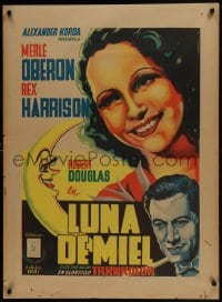 5y011 OVER THE MOON Mexican poster 1940 Merle Oberon, Harrison, Juan Antonio Vargas Ocampo art!