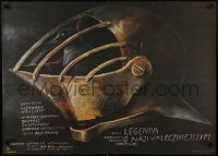 5y808 VASILIY BUSLAEV Polish 27x37 1983 cool Wiktor Sadowski art of bird in knight's helmet!