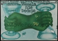5y810 WESELA NIE BEDZIE Polish 27x38 1978 wild artwork of hands and glasses by Romuald Socha!