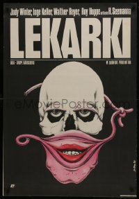 5y816 WOMEN DOCTORS Polish 26x39 1985 bizarre Jakub Erol art of skull w/female mask!