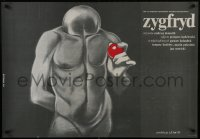 5y823 ZYGFRYD Polish 27x38 1986 really wild naked faceless man artwork by Bednrski!