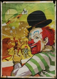 5z006 UNKNOWN CIRCUS POSTER 39x55 Italian circus poster 1960s art of clowns and circus act!