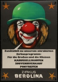 5z007 ZIRKUS BEROLINA 32x45 East German circus poster 1985 great close-up art of smiling clown!