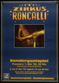 5z008 ZIRKUS RONCALLI 33x47 German circus poster 1982 image of gold-covered acrobats!