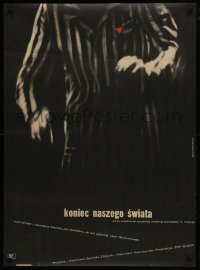 5z020 END OF OUR WORLD Polish 30x41 1964 Holdanowicz artwork of concentration camp prisoner!