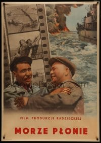 5z025 MORZE PLONIE Polish 33x47 1950s Russian seafaring action thriller movie, please help!