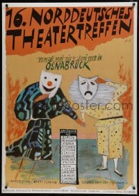 5z040 16 NORDDEUTSCHES THEATERTREFFEN 33x47 German stage poster 1989 actors with theater masks!