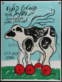 5z028 7TH JERUSALEM FILM FESTIVAL 36x47 Israeli film festival poster 1990 art of animal on wheels!