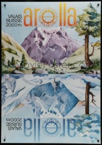 5z015 AROLLA 36x51 Swiss travel poster 1960s art showing the region in both winter and summer!