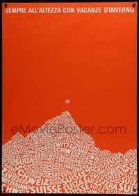 5z018 SEMPRE ALL'ALTEZZA CON VACANZE IN SVIZZERA 36x51 Swiss travel poster 1970 red art!