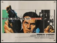6a174 BULLITT linen style A British quad 1968 different Chantrell art of Steve McQueen, ultra rare!