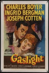 6a305 GASLIGHT linen 1sh 1944 art of Ingrid Bergman, Charles Boyer & Joseph Cotten, rare!